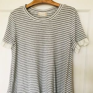 Altar'd State White & Gray Striped Shirt w/ Ruffle